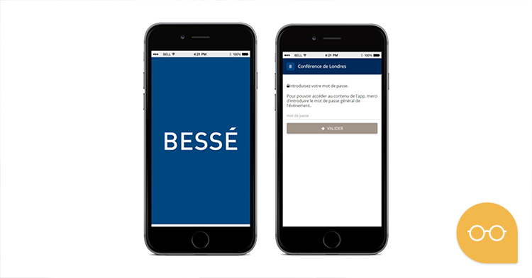 Event mobile application created for Bessé, an insurance Company
