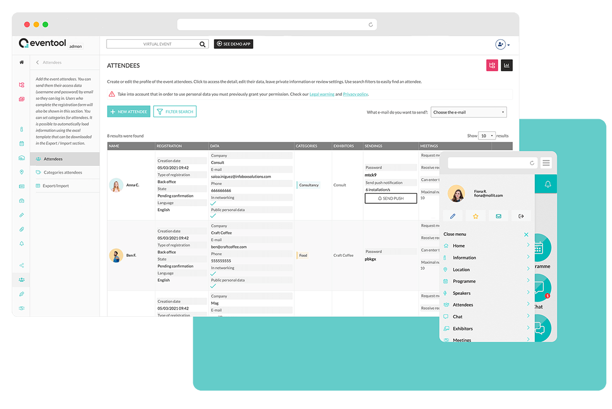 Add sessions, information, rooms,  scientific communications, places... to your app and manage the content through the admin panel