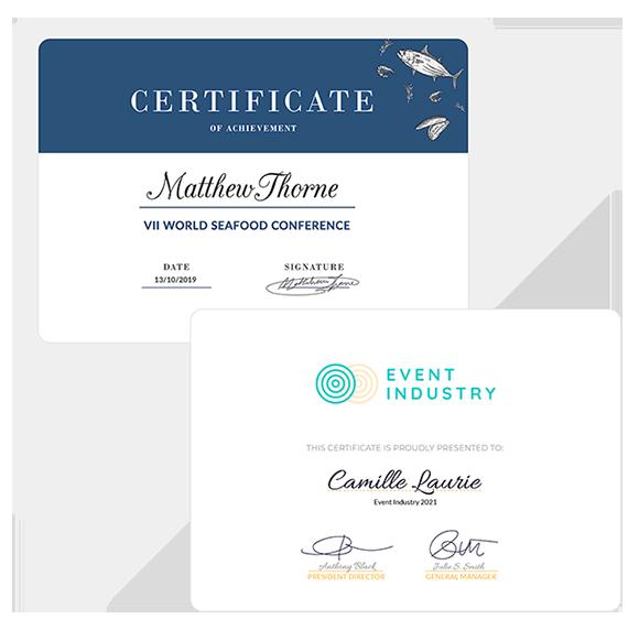 Configure os certificados de participação e envie por e-mail, SMS e/ou no app do evento.