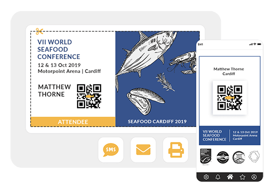 Include the information you need in the accreditations for your attendees: name, organisation, position ... Share it with your guests by email, sms and through the event's app.