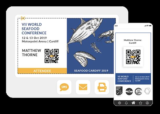 Você é quem define os dados que quer incluir nas credenciais dos participantes: nome, organização, cargo... Compartilhe com os convidados por e-mail, SMS e pelo app do evento.