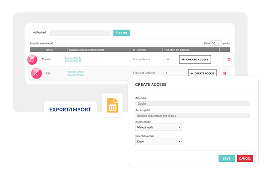 Control the arrival of your guests. Follow the activity from the free check-in app and from the Eventool admin panel.