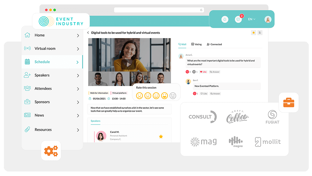 With the Eventool platform for virtual events, you will create a unique panorama to engage your participants. Personalised with your brand and with all information.