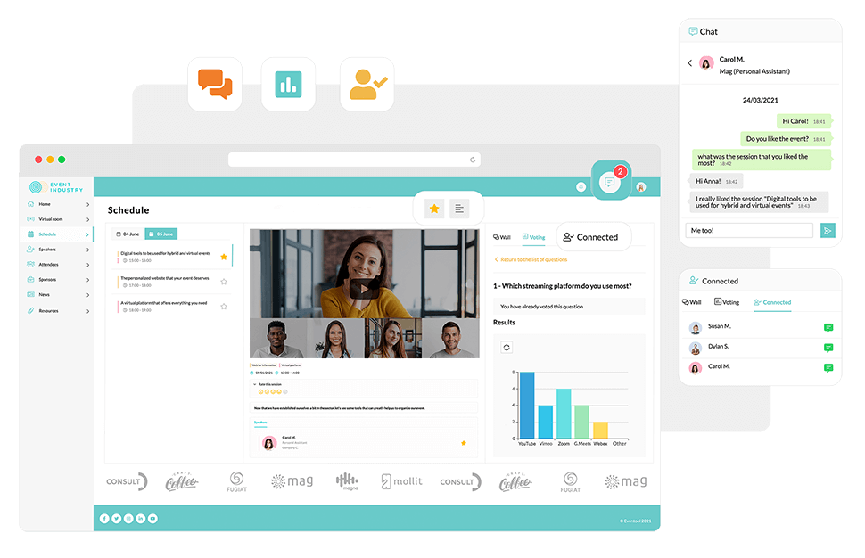 Sessions participatives. Nous vous proposons des outils pour les complémenter tels que des murs sociaux, votes, quiz et informant des participants connectés en temps réel.