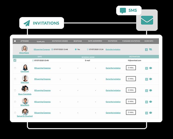 Suivez l'activité depuis le dashboard pour savoir le nombre d'emails ouverts et les réponses des participants. Avec la possibilité de leur envoyez des rappels dès que vous le souhaitez.