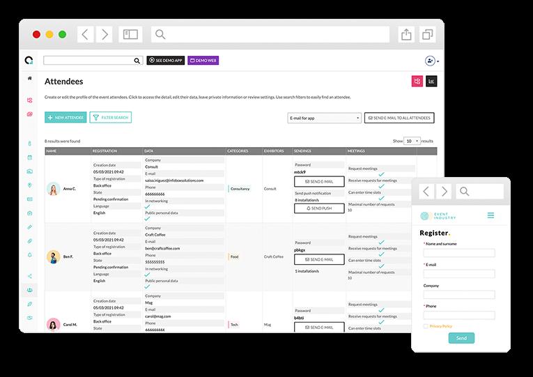 Gérez l'ensemble depuis un unique dashboard. Effectuez des changements à tout moment, vérifiez l'état des inscriptions en temps réel, téléchargez la base de donnée des invités et connectez-vous à votre audience avec des intégrations sur-mesure.