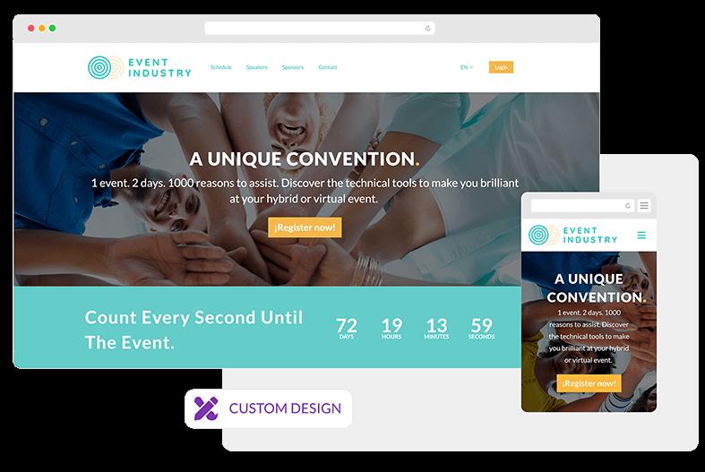 Logotipo e cores corporativas integradas ao site. Várias opções de personalização disponíveis.