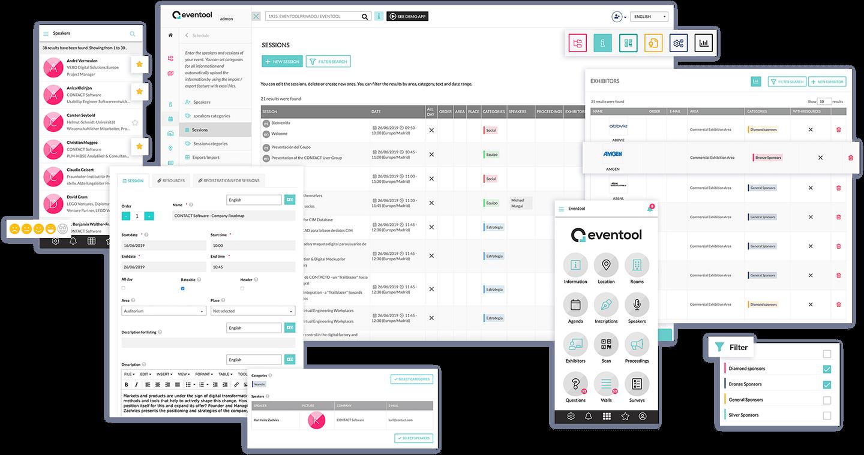 Inclua no seu app: sessões, informação, salas, artigos científicos, lugares... e gerencie todo o conteúdo pelo painel de controle