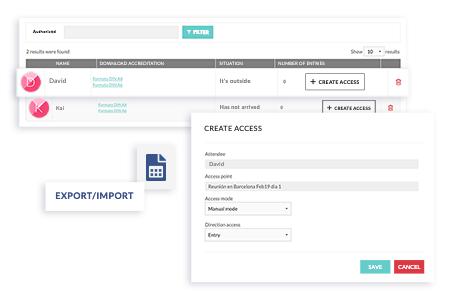 Administra las acreditaciones a través del panel de administración. Configura los puntos de acceso y registra nuevos asistentes. Descarga un excel con toda la información.